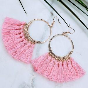 5 for $25 Gold Hoop Pink Fringe Tassel Earrings